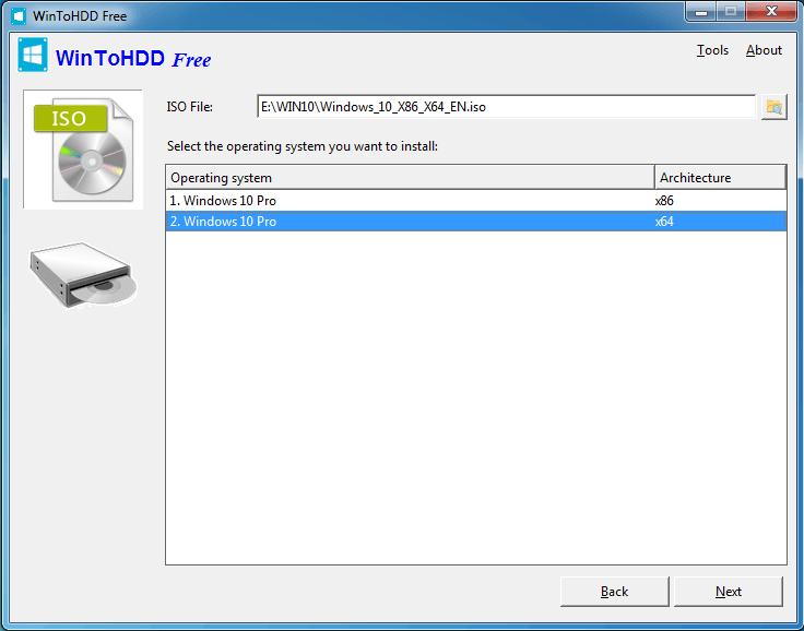 Выберите операционную систему для установки в программе WiinToHDD