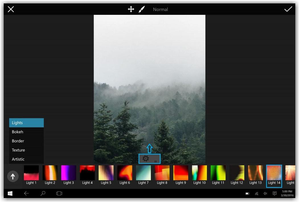 подбор цветов для фотографии в программе PicsArt