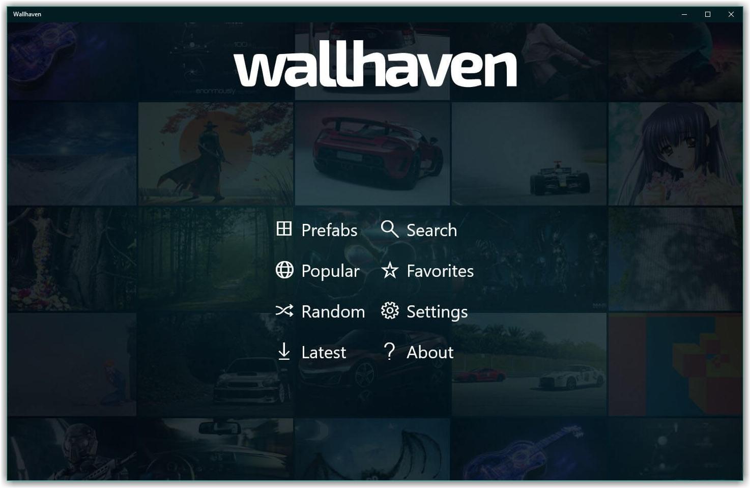 меню программы wallhaven