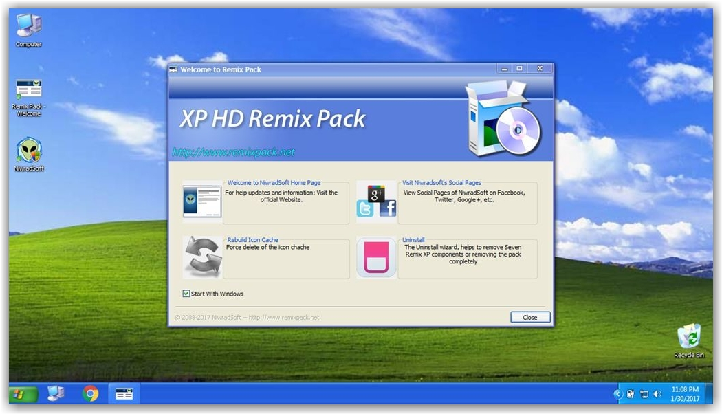 тем XP HD on Remix Pack для Windows 10