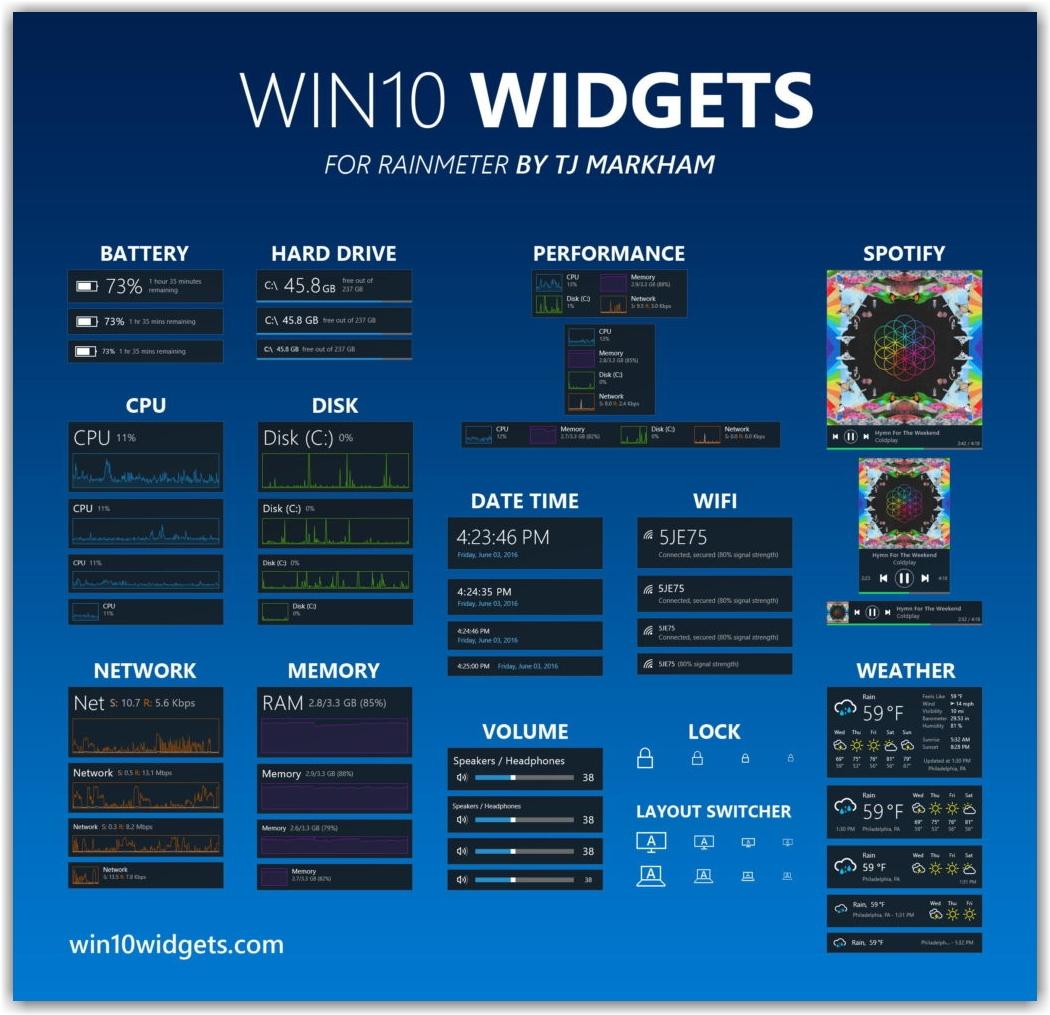 Win10 Widgets – стильные виджеты для Windows 10