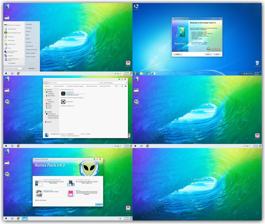 тема iOS9 Remix Pack для Windows 10