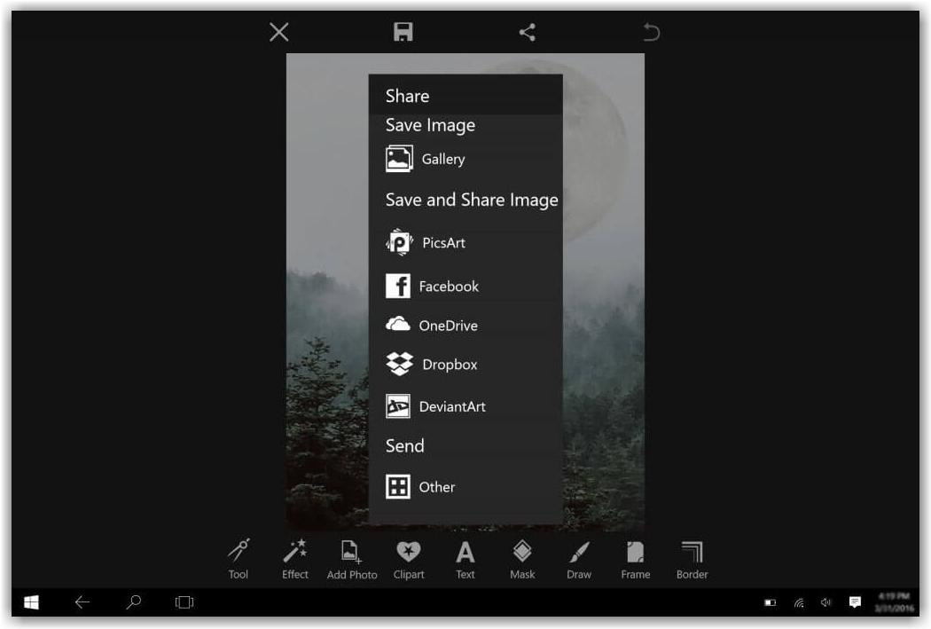 меню для сохранения фотографии в программе PicsArt