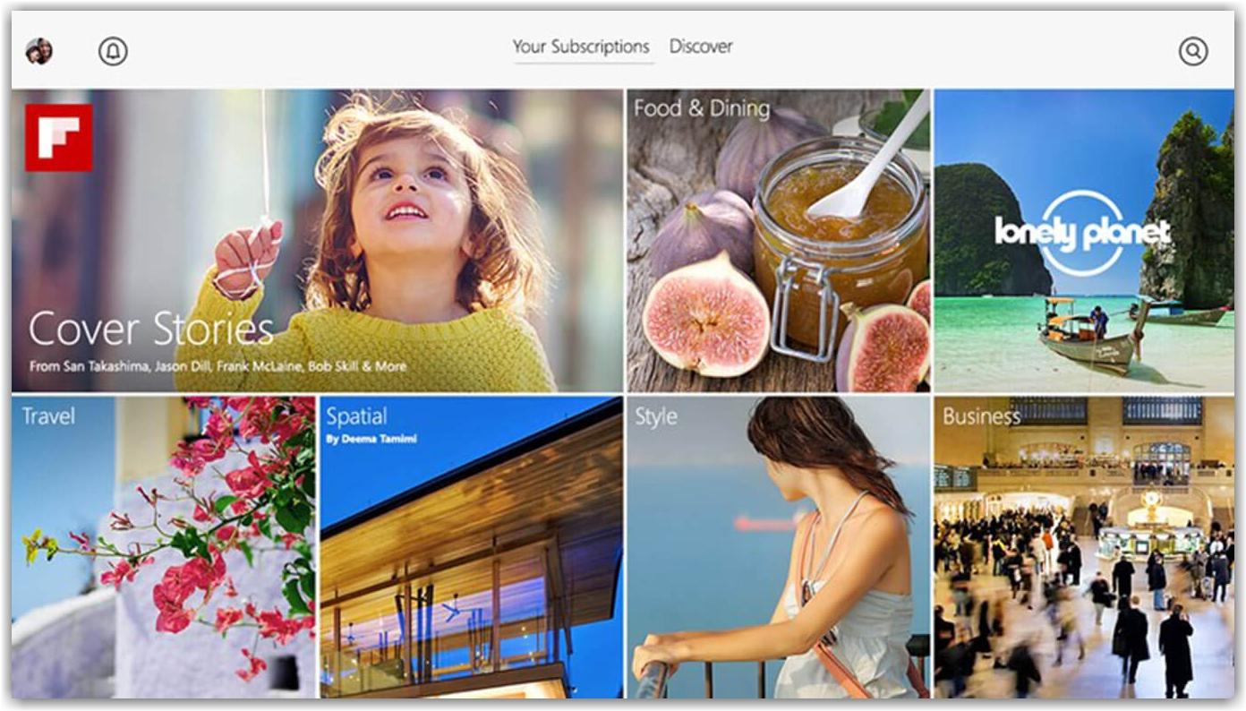 главная страница приложения Flipboard