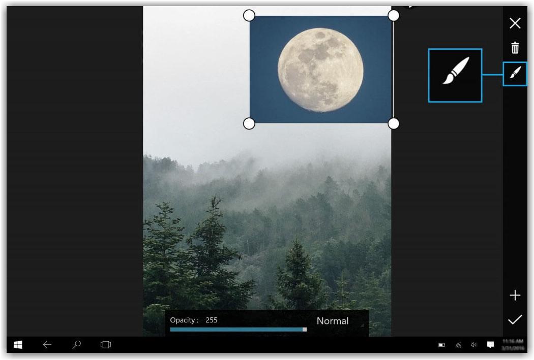 вставка в редакторе программы PicsArt