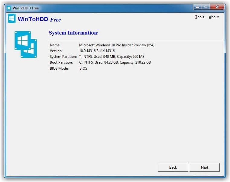 Установка закончена в программе WinToHDD