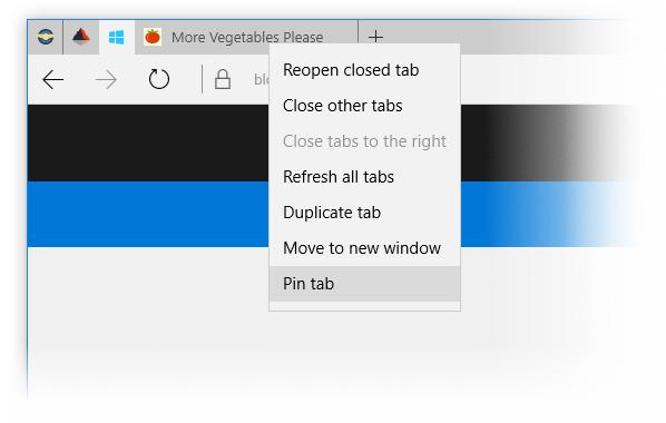 закрепление вкладок в контекстном меню браузера Edge