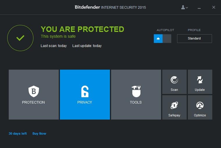 Интерфейс программы Bitdefender