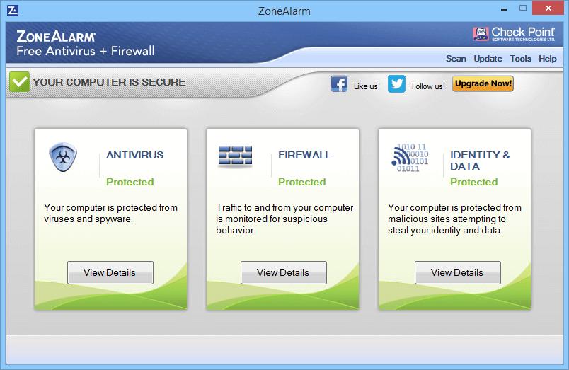 Интерфейс программы ZoneAlarm FreeAV