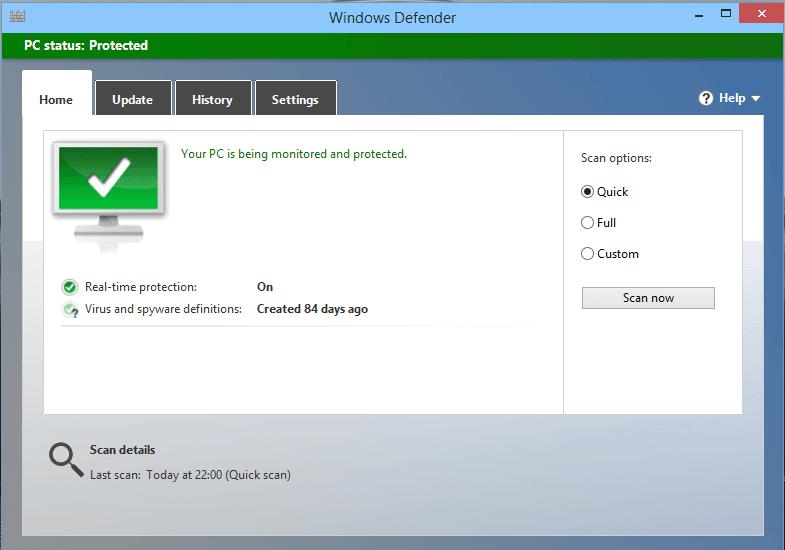 Интерфейс программы windows Defender