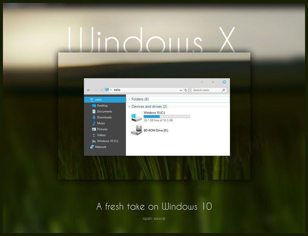 Windows X – свежая тема для Windows 10